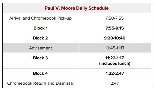 Paul V. Moore Daily Schedule